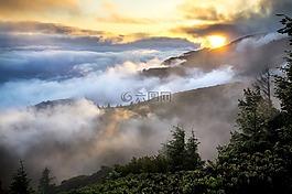 山,景觀,薄霧