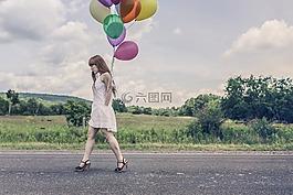 气球,庆典,女孩