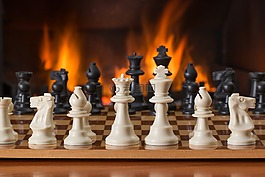 棋,棋盘游戏,炉边