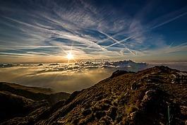 黎明,太陽,山