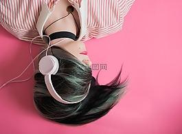 女孩,音乐,粉色