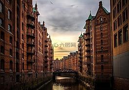 河,建筑物,庫鎮