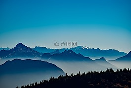 法國,山,霧