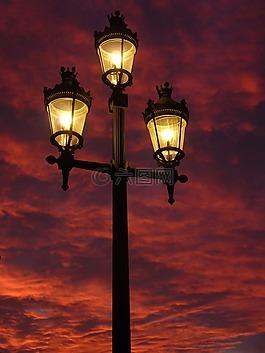 路灯,灯笼,余辉