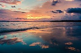 海灘,日落,大海