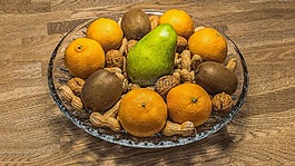 水果碗,坚果,水果