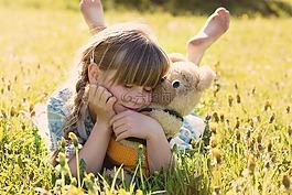 女孩,玩具熊,依偎在