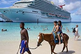 邮轮,大特克,海滩上的马