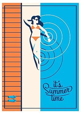 創意海報夏日假期度假矢量海報背景