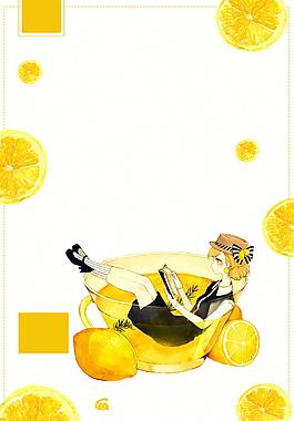 創意檸檬茶飲女孩海報背景設計