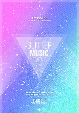 歐美音樂派對炫麗藍色創意海報設計