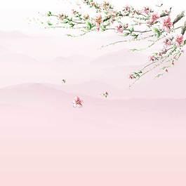 桃花樹枝主圖背景