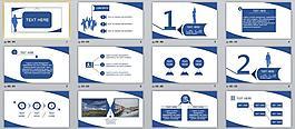 藍色商務總結匯報PPT模板