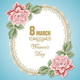 3.8婦女節花卉邊框矢量