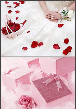 玫瑰花瓣婚禮背景PPT模板