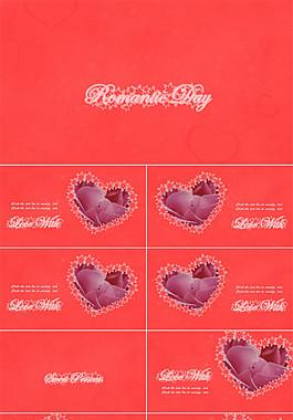 愛心 玫瑰 唯美動態花瓣浪漫情人節ppt模板