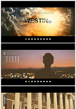 仿web幻灯广告切换效果影片主题个人简历ppt模板