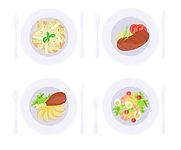 美味餐廳矢量食物