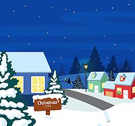 夜間雪地景觀