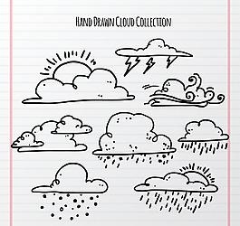 手繪云朵氣象素材