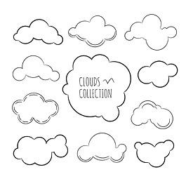 手繪線條云朵