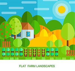 彩色扁平化農場風景矢量素材