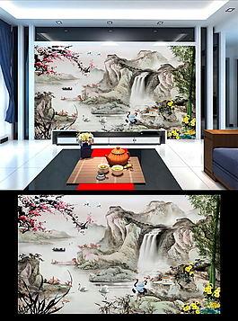 中國風四君子水墨山水畫裝飾畫