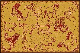 十二生肖卡通動物素材