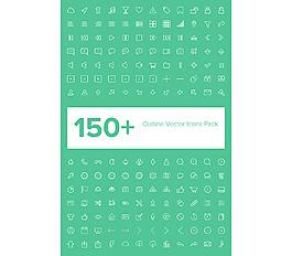 150種輪廓矢量網頁圖標包