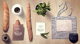 面包蔬菜牛奶布袋小物品