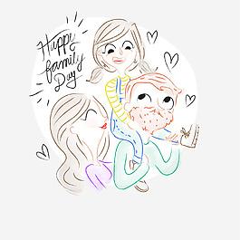 手繪幸福一家人