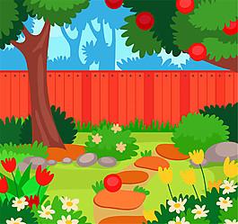 卡通私人花園庭院風景矢量素材
