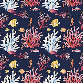 卡通魚珊瑚背景圖片