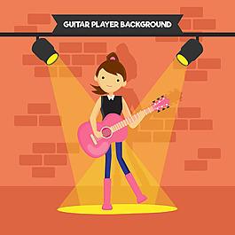 女孩彈吉他聚光燈背景平面設計素材