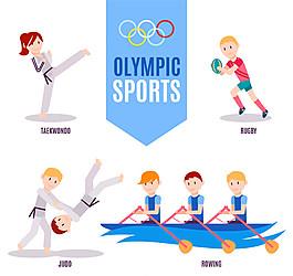 4種創意奧運會項目設計矢量圖