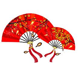 紅色中國風扇子元素