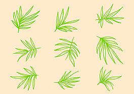 手繪竹子葉子素材