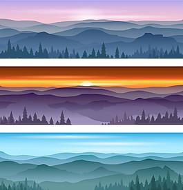 水墨山林景觀背景矢量素材