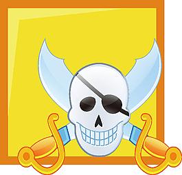 黃色背景骷髏頭海盜