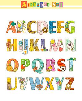 卡通字母設計元素