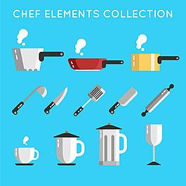 手繪各種餐具廚具圖標