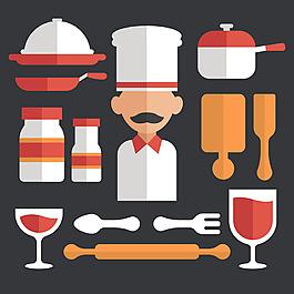 扁平風格廚師制服各種廚具餐具矢量素材