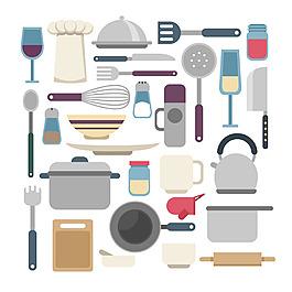 手繪各種廚具餐具平面設計素材