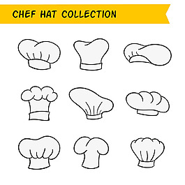 手繪線描風格各種廚師帽圖標