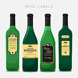 四瓶酒與裝飾性標簽