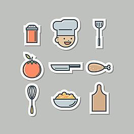 手繪線描風格廚房用品矢量素材