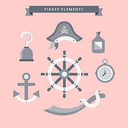 方向舵與各種海盜元素圖標