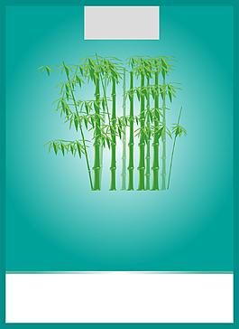 清新綠竹邊框背景