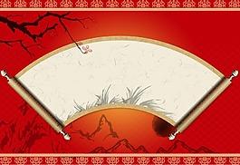 紅色中國風卷書背景