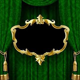 綠色布簾背景素材